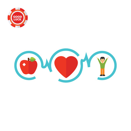 the topics: Connected apple, heart and man. Healthy, fitness, life. Healthy heart concept. Can be used for topics like medicine, cardiology, health, healthcare. Illustration