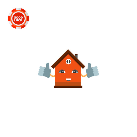smile icon: Smiling cartoon house holding thumbs up. Mascot, home, shelter. House concept. Can be used for topics like construction, marketing, architecture, real estate.