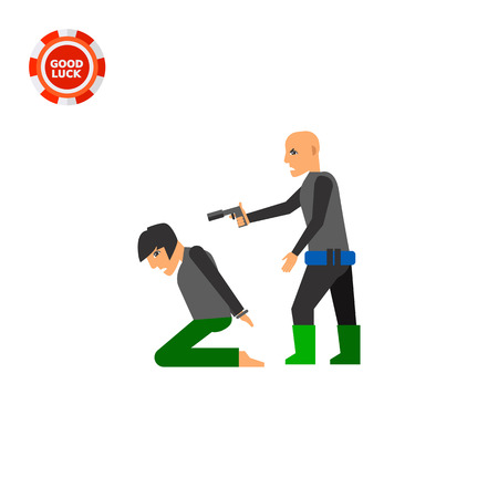 kidnapping: Hostage on knees and terrorist pointing gun at him. Terror, threat, killing. Kidnapping concept. Can be used for topics like terrorism, violence, criminality. Illustration