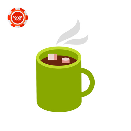 hot: Hot chocolate in mug. Dessert, sweet, beverage. Chocolate concept. Can be used for topics like cooking, food, marketing. Illustration