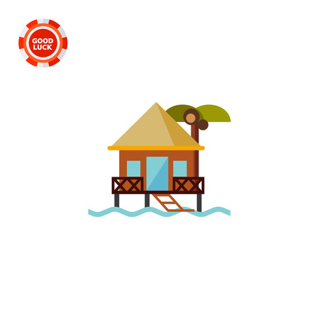 maldives island: Bungalow on water. Sea, beach, rest. Hotel on water concept. Can be used for topics like summer, vacation, resorts. Illustration