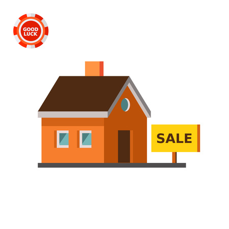 House and tablet with inscription Sale. New, home, shelter. House concept. Can be used for topics like construction, business, architecture, real estate.