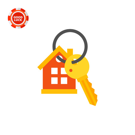 House keyring and key. Protection, locking, property. Key concept. Can be used for topics like finance, technology, business.