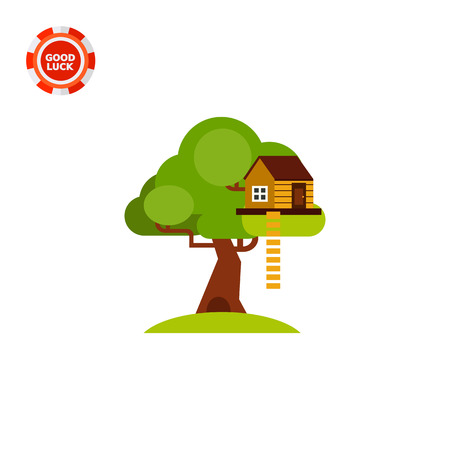 playhouse: House on tree with ladder. Childhood, home, shelter. House concept. Can be used for topics like construction, childhood, architecture. Illustration