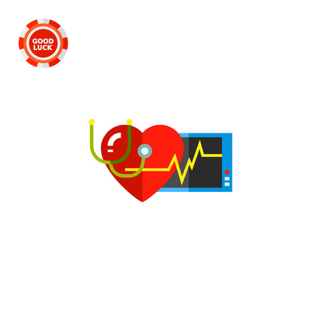 cardiograph: Human heart with heart rate on cardiograph monitor. Cardiology, stethoscope, heartbeat, health. Cardiology concept. Can be used for topics like science, knowledge, health