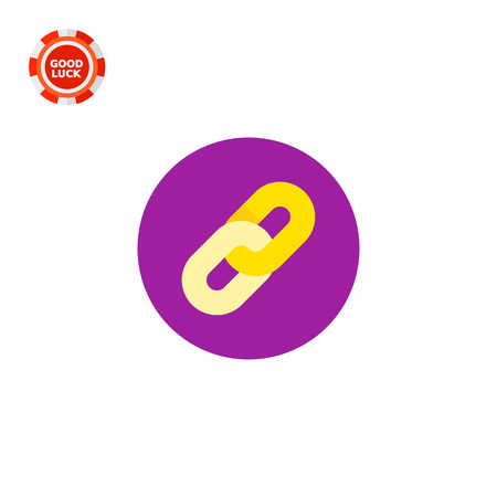 hypertext: Two chain links in purple circle. Digital, data, reference. Hyperlink concept. Can be used for topics like programming, Internet, technology.