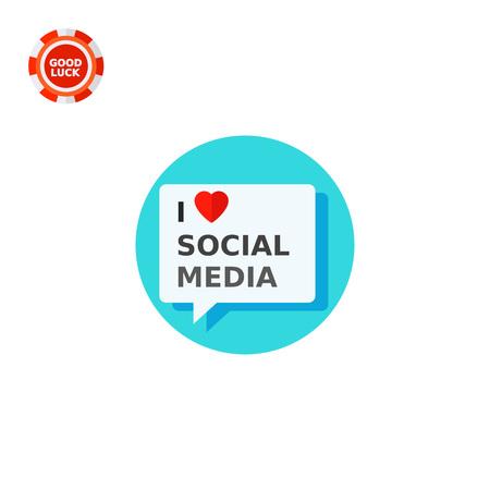 media love: Illustration of I love social media inscription in speech bubble. Heart symbol, communication, network. I love social media concept. Can be used for topics like social media, advertising, network