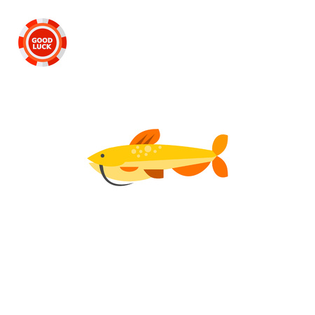 topics: Isolated catfish. Catch, water, wildlife. Fish concept. Can be used for topics like fishing, zoology, cooking. Illustration