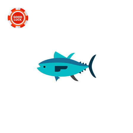 zoology: Isolated tuna. Catch, water, wildlife. Fish concept. Can be used for topics like fishing, zoology, cooking. Illustration