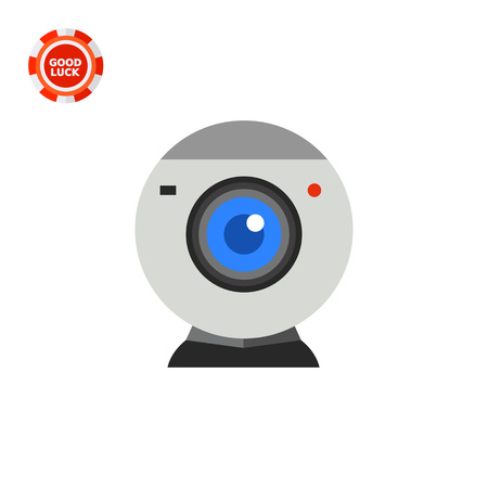 topics: Isolated web-camera. Shooting, communication, device. Web-camera concept. Can be used for topics like electronics, marketing, technology.