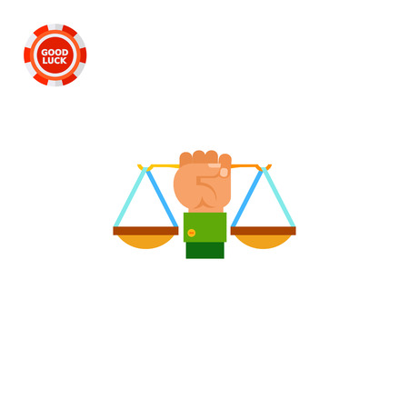 legislation: Illustration of hand holding scales. Justice, legislation, law. Justice concept. Can be used for topics like law, legislation, justice