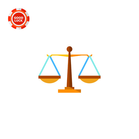 equilibrium: Justice weighing scales. Equilibrium, fairness, judging. Justice concept. Can be used for topics like law, legal procedures, marketing. Illustration