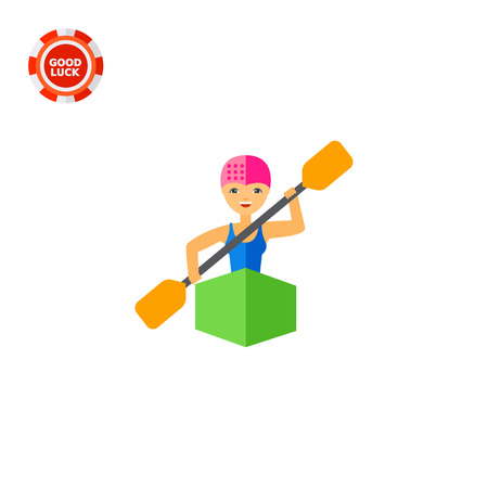 Kayaker woman sitting in kayak and rowing, front view. Water, transportation, danger. Kayaking sport concept. Can be used for topics like sport, health, competitions.