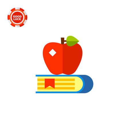 cognition: Book with bookmark and red apple on it. Teaching, reading, learning. Knowledge concept. Can be used for topics like study, teaching, education.