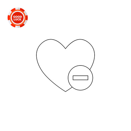 eliminating: Heart and minus sign. Interface, content, online. Deleting from favorites concept. Can be used for topics like Internet, technology, electronics, social media. Illustration