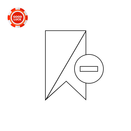 excluding: Bookmark with minus sign in circle. Interface, book, online. Deleting bookmark concept. Can be used for topics like Internet, technology, electronics. Illustration