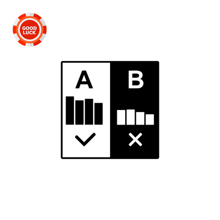selected: Selected diagram A with tick and rejected diagram B with cross. Split test, digital marketing, Internet. Split test concept. Can be used for topics like digital marketing, Internet, advertising