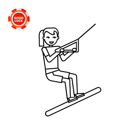 excitement: Young girl waterskiing. Training, excitement, extreme. Waterskiing concept. Can be used for topics like sport, health, waterskiing. Illustration