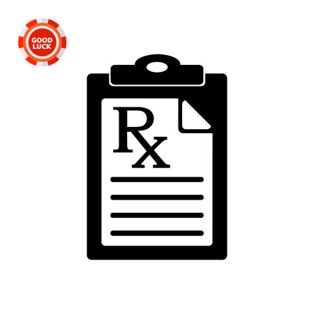 Document with medical prescription. Instruction, curing, care. Prescription concept. Can be used for topics like medicine, healthcare, health, pharmacology. Illustration
