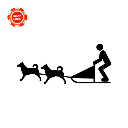 eskimo dog: Vector icon of dogteam and sled with man ruling