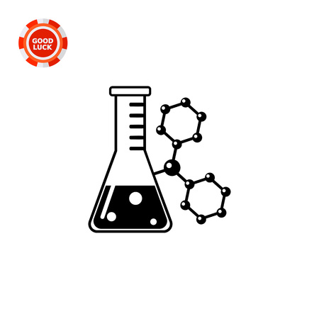 Monochrome vector icon of flask with substance on background of molecular structure