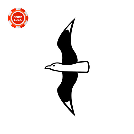 sea bird: Flying seagull. Summer, sea, freedom. Bird concept. Can be used for topics like zoology, vacation, tourism. Illustration