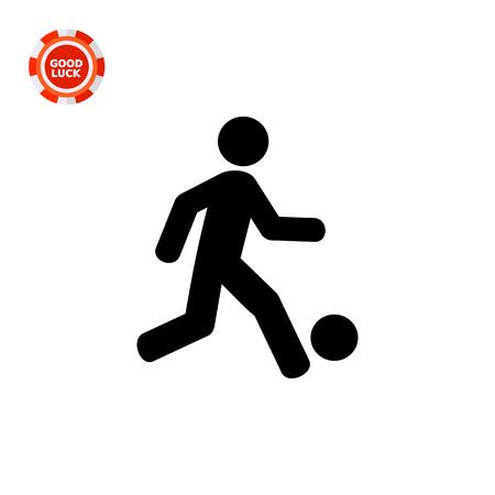 kicking ball: Man kicking ball. Game, team, fun. Football concept. Can be used for topics like sport, entertainment, football.