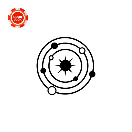 macrocosm: Monochrome vector icon of model of galaxy with Sun and planets