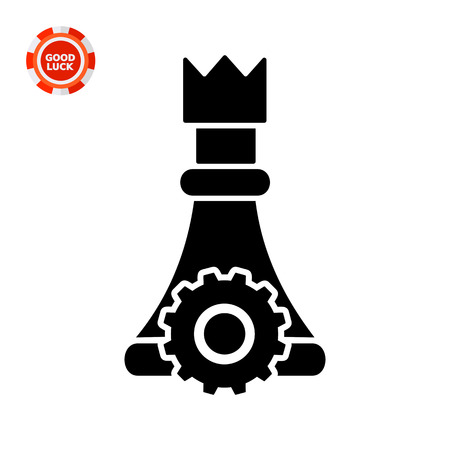 involvement: Chess piece with gear wheel. Gamification, motivation, involvement. Gamification concept. Can be used for topics like education, business, management