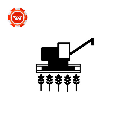 combine harvester: Combine harvester gathering crop on field. Summer, wheat, machine. Harvesting concept. Can be used for topics like agriculture; nature, agronomy. Illustration