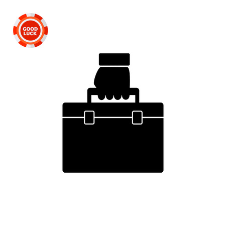 carried: Monochrome vector icon of business case being carried in hand