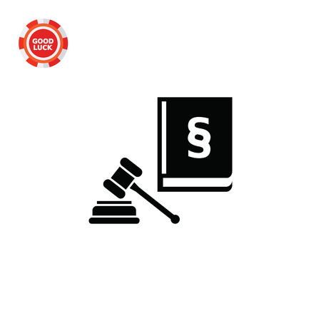 jurisprudence: Hammer and code of laws with paragraph sign. Court concept. Can be used for topics like jurisprudence, criminality, business. Illustration