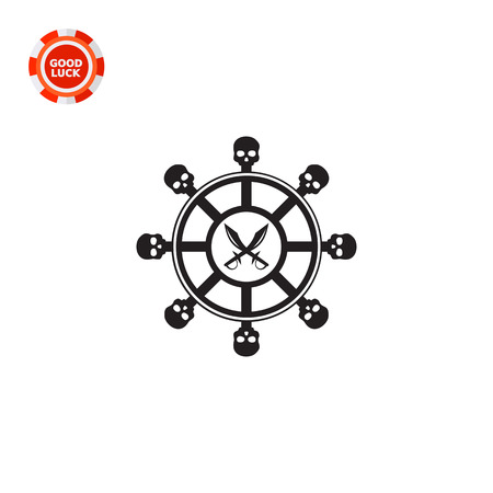 Black illustration of steering wheel with skull elements and crossed pirate daggers. Ship, adventure, fun. Pirates concept. Can be used for topics like transport, history, fiction. Illustration