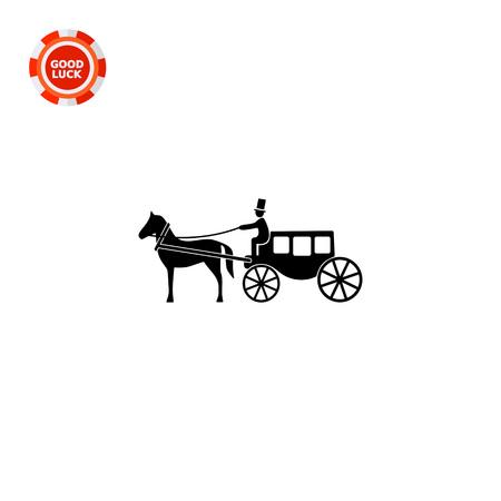 coachman: Monochrome vector icon of horse coach with coachman