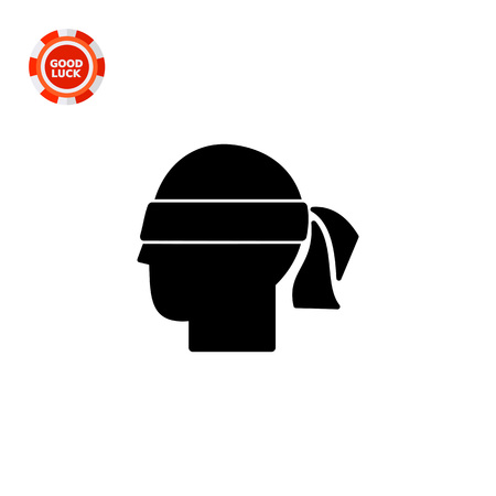hunch: Head with blindfold. Hunch, intuition, premonition, suspicion. Hunch concept. Can be used for topics like communication, psychology, personality