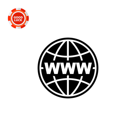 www concept: Monochrome vector icon of globe with parallels and meridians and letters www, representing internet concept Illustration