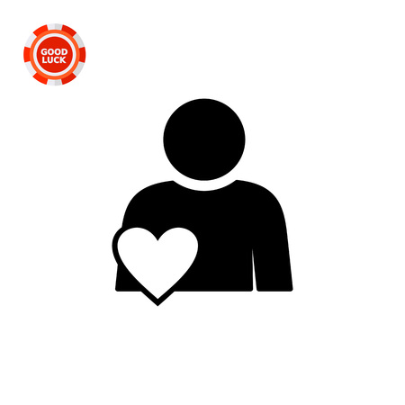 Person with heart symbol. Involvement, engagement, participation. Involvement concept. Can be used for topics like network, business, work Illustration