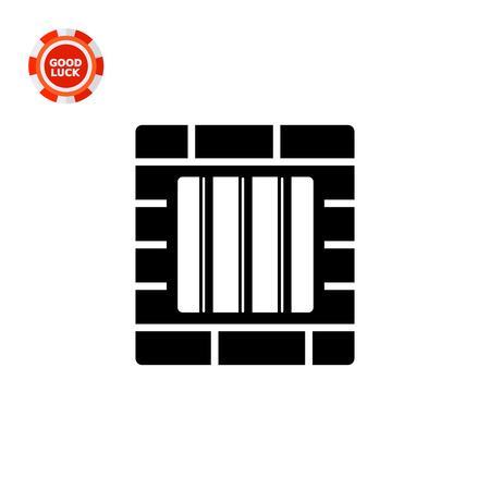incarceration: Monochrome vector icon of brick wall and window with prison bars representing jail