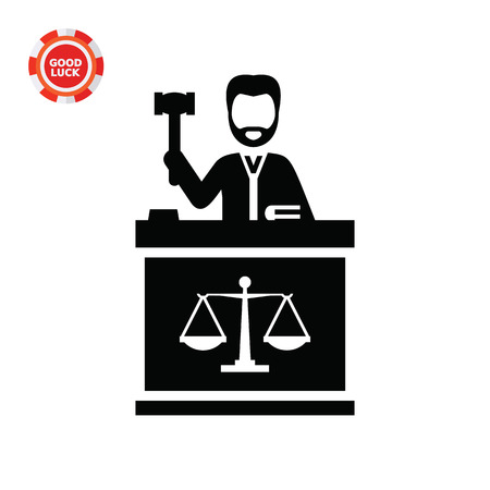 jurisprudence: Judge with hammer. Judgment, trial, duty. Court concept. Can be used for topics like jurisprudence, criminality, business.