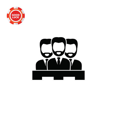 Jury of three men. Judgment, trial, duty. Court concept. Can be used for topics like jurisprudence, criminality, business. Illustration