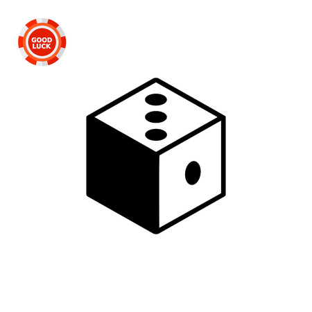 rationale: Monochrome vector icon of 3d dice representing logic concept