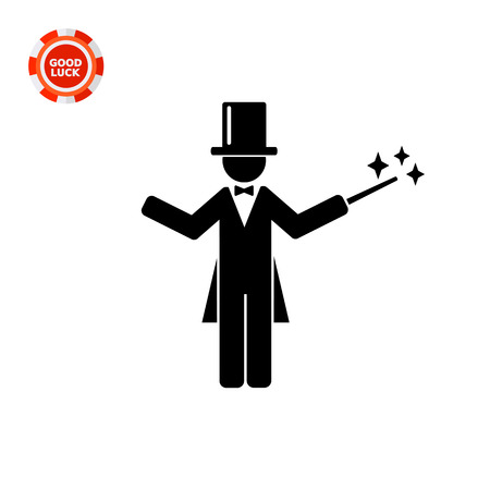 conjuring: Man wearing tail-coat and cylinder and holding magic wand. Miracle, illusion, surprise. Magician concept. Can be used for topics like show, circus, entertainment. Illustration