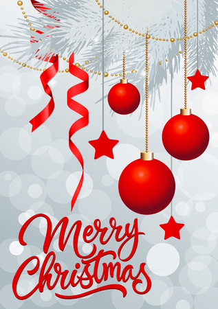 sprig: Merry Christmas lettering. Merry Christmas inscription with fir sprig decorated with red Christmas balls, ribbons, strings of beads. Handwritten text can be used for postcards, festive design, posters