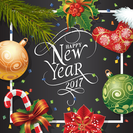 typed: Happy New Year 2017 lettering in frame. New Year Day greeting card with fir tree twig, mistletoe, balls and candy cane. Typed text. For greeting cards, posters, leaflets and brochures.