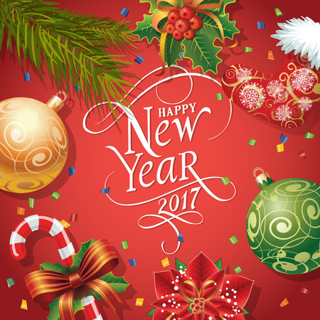 Happy New Year 2017 lettering. New Year Day greeting card with fir tree twigs, mistletoe, balls and candy cane. Typed text. For greeting cards, posters, leaflets and brochures. Vectores