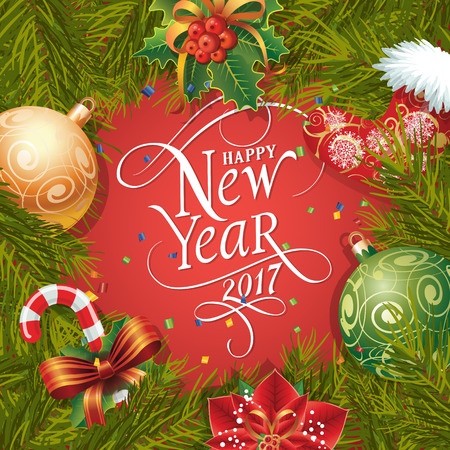 typed: Happy New Year 2017 lettering. New Year Day greeting card with fir tree twigs, mistletoe, balls and candy cane. Typed text. For greeting cards, posters, leaflets and brochures. Illustration