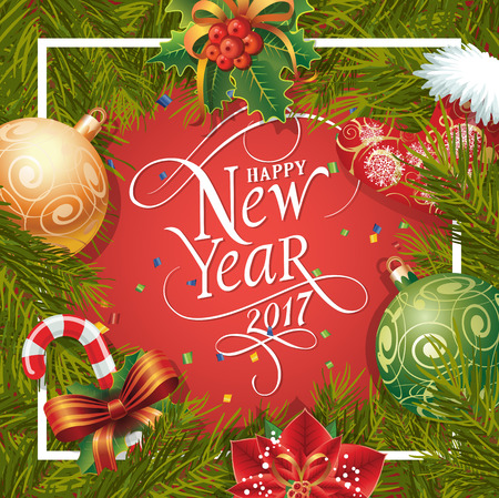 typed: Happy New Year 2017 lettering in frame. New Year Day greeting card with fir tree twig, poinsettia, balls and candy cane. Typed text. For greeting cards, posters, leaflets and brochures.