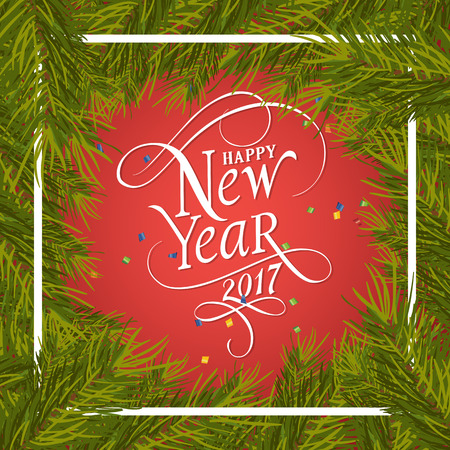 Happy New Year 2017 lettering in frame. New Year Day greeting card with fir tree twigs. Typed text. For greeting cards, posters, leaflets and brochures.