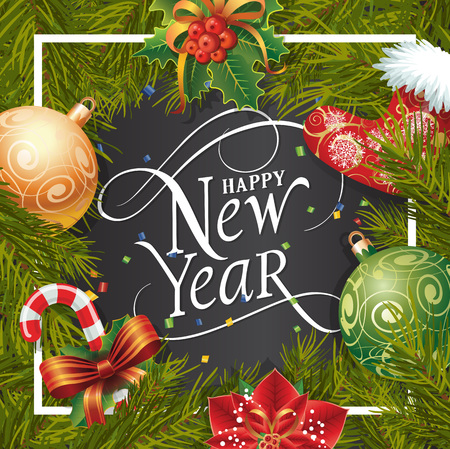 typed: Happy New Year lettering in frame. New Year Day greeting card with fir tree twig, poinsettia, balls and candy cane. Typed text. For greeting cards, posters, leaflets and brochures.