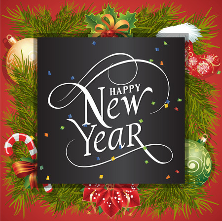 typed: Happy New Year lettering in square. New Year Day greeting card with fir tree twigs, mistletoe, balls and candy cane. Typed text. For greeting cards, posters, leaflets and brochures. Illustration